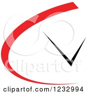 Clipart Of A Red And Black Clock Logo Royalty Free Vector Illustration