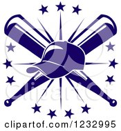 Clipart Of A Blue Baseball Cap Over Crossed Bats And A Starburst Royalty Free Vector Illustration by Vector Tradition SM