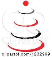 Clipart Of A Red And Black Tree Logo Royalty Free Vector Illustration