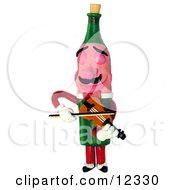 Clay Sculpture Clipart Wine Bottle Playing A Violin Royalty Free 3d Illustration