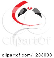 Clipart Of A Red And Black Flying Bat Logo And Reflection Royalty Free Vector Illustration