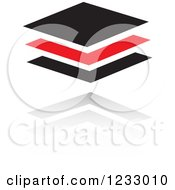 Clipart Of A Red And Black Tiles Logo And Reflection Royalty Free Vector Illustration