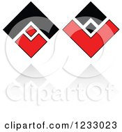 Clipart Of A Red And Black Diamond Logo And Reflection 5 Royalty Free Vector Illustration by Vector Tradition SM