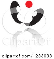 Clipart Of A Red And Black Butterfly Logo And Reflection Royalty Free Vector Illustration