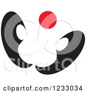 Clipart Of A Red And Black Butterfly Logo Royalty Free Vector Illustration