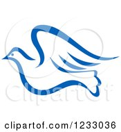 Clipart Of A Flying Blue Dove Royalty Free Vector Illustration by Vector Tradition SM