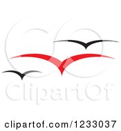 Clipart Of A Red And Black Seagull Logo Royalty Free Vector Illustration