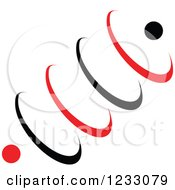 Clipart Of A Red And Black Spring Logo Royalty Free Vector Illustration