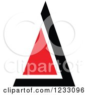 Clipart Of A Red And Black Triangle Logo Royalty Free Vector Illustration