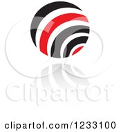 Clipart Of A Red And Black Sphere Logo And Reflection 2 Royalty Free Vector Illustration