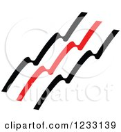 Clipart Of A Red And Black Wave Logo Royalty Free Vector Illustration