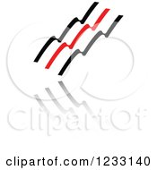 Clipart Of A Red And Black Wave Logo And Reflection Royalty Free Vector Illustration