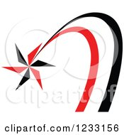 Clipart Of A Red And Black Shooting Star Logo Royalty Free Vector Illustration
