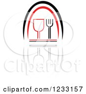 Clipart Of A Red And Black Wine Glass Logo And Reflection Royalty Free Vector Illustration by Vector Tradition SM