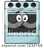 Clipart Of A Happy Blue Oven Royalty Free Vector Illustration by Vector Tradition SM