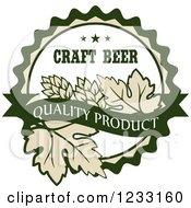 Clipart Of A Beige White And Green Craft Beer Quality Product Hops Label Royalty Free Vector Illustration by Vector Tradition SM