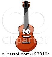 Clipart Of A Happy Guitar Royalty Free Vector Illustration