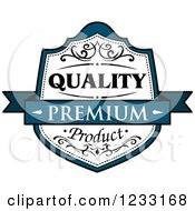 Clipart Of A Teal And White Premium Quality Product Label Royalty Free Vector Illustration