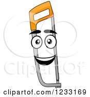 Clipart Of A Happy Saw Mascot Royalty Free Vector Illustration