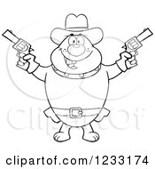 Clipart Of A Black And White Cowboy Bulldog Shooting Pistols Royalty Free Vector Illustration