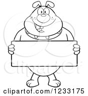 Clipart Of A Black And White Bulldog Holding A Sign Royalty Free Vector Illustration