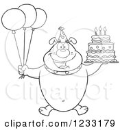 Clipart Of A Black And White Bulldog With Party Balloons And A Birthday Cake Royalty Free Vector Illustration