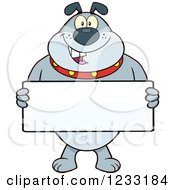 Clipart Of A Gray Bulldog Holding A Sign Royalty Free Vector Illustration