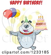 Clipart Of A Gray Bulldog With Party Balloons A Cake And Happy Birthday Greeting Royalty Free Vector Illustration