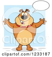 Clipart Of A Talking Brown Bulldog With Open Arms For A Hug Royalty Free Vector Illustration