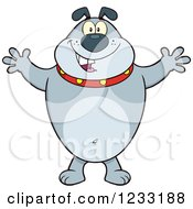 Clipart Of A Gray Bulldog With Open Arms For A Hug Royalty Free Vector Illustration