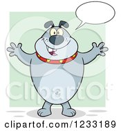 Clipart Of A Talking Gray Bulldog With Open Arms For A Hug Royalty Free Vector Illustration