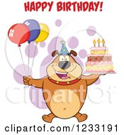 Clipart Of A Brown Bulldog With Party Balloons A Cake And Happy Birthday Greeting Royalty Free Vector Illustration by Hit Toon
