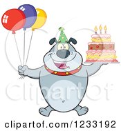 Clipart Of A Gray Bulldog With Party Balloons And A Birthday Cake Royalty Free Vector Illustration by Hit Toon
