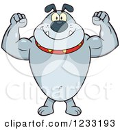 Clipart Of A Strong Gray Bulldog Flexing His Arms Royalty Free Vector Illustration by Hit Toon