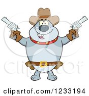 Clipart Of A Gray Cowboy Bulldog Shooting Pistols Royalty Free Vector Illustration