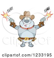 Clipart Of A Gray Cowboy Bulldog Shooting Guns Royalty Free Vector Illustration by Hit Toon