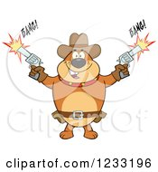 Clipart Of A Brown Cowboy Bulldog Shooting Guns Royalty Free Vector Illustration by Hit Toon