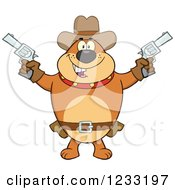 Clipart Of A Brown Cowboy Bulldog Shooting Pistols Royalty Free Vector Illustration