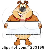 Clipart Of A Brown Bulldog Holding A Sign Royalty Free Vector Illustration by Hit Toon