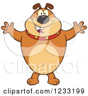 Clipart Of A Brown Bulldog With Open Arms For A Hug Royalty Free Vector Illustration by Hit Toon