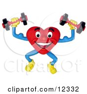 Clay Sculpture Clipart Healthy Heart Lifting Weights Royalty Free 3d Illustration by Amy Vangsgard