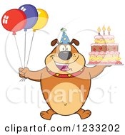 Clipart Of A Brown Bulldog With Party Balloons And A Birthday Cake Royalty Free Vector Illustration