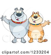 Clipart Of A Gray Bulldog And Ginger Cat Welcoming Royalty Free Vector Illustration