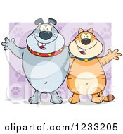 Clipart Of A Gray Bulldog And Ginger Cat Welcoming Over Purple Royalty Free Vector Illustration by Hit Toon