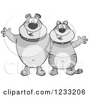 Clipart Of A Grayscale Bulldog And Cat Welcoming Royalty Free Vector Illustration
