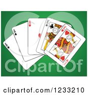 Clipart Of A Full House Playing Cards Of Kings And Aces Royalty Free Vector Illustration