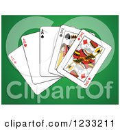 Clipart Of A Full House Playing Cards Of Kings And Aces 2 Royalty Free Vector Illustration