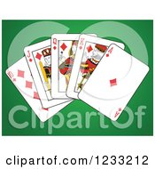 Clipart Of Diamonds Royal Flush Playing Cards On Green Royalty Free Vector Illustration