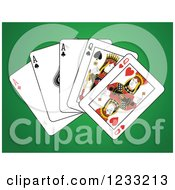 Clipart Of A Full House Playing Cards Of Queens And Aces Royalty Free Vector Illustration