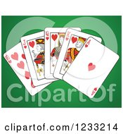 Clipart Of Hearts Royal Flush Playing Cards On Green Royalty Free Vector Illustration
